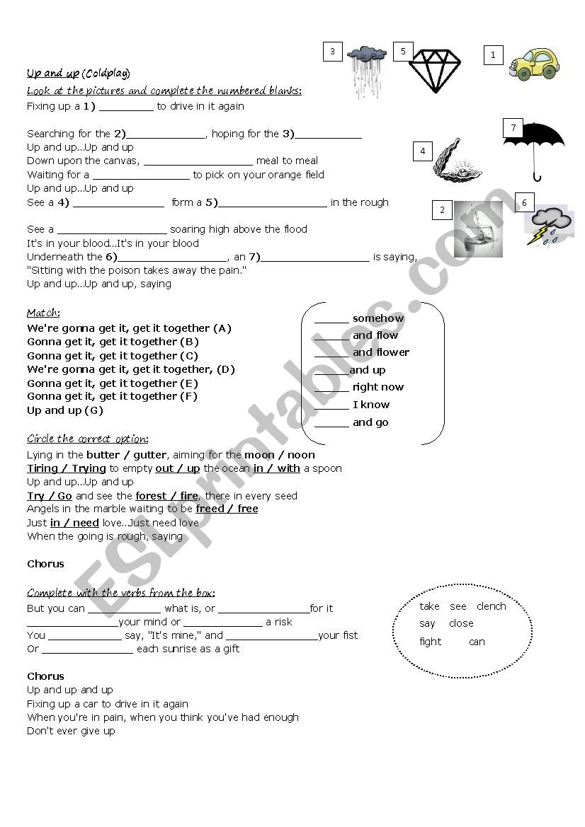 Song worksheet - Up & Up (By Coldplay)