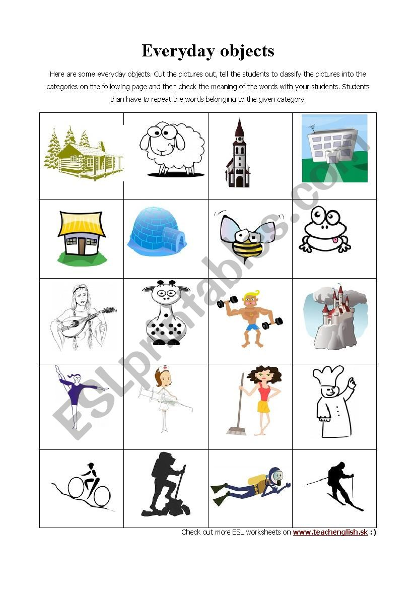 Everyday objects easy worksheet