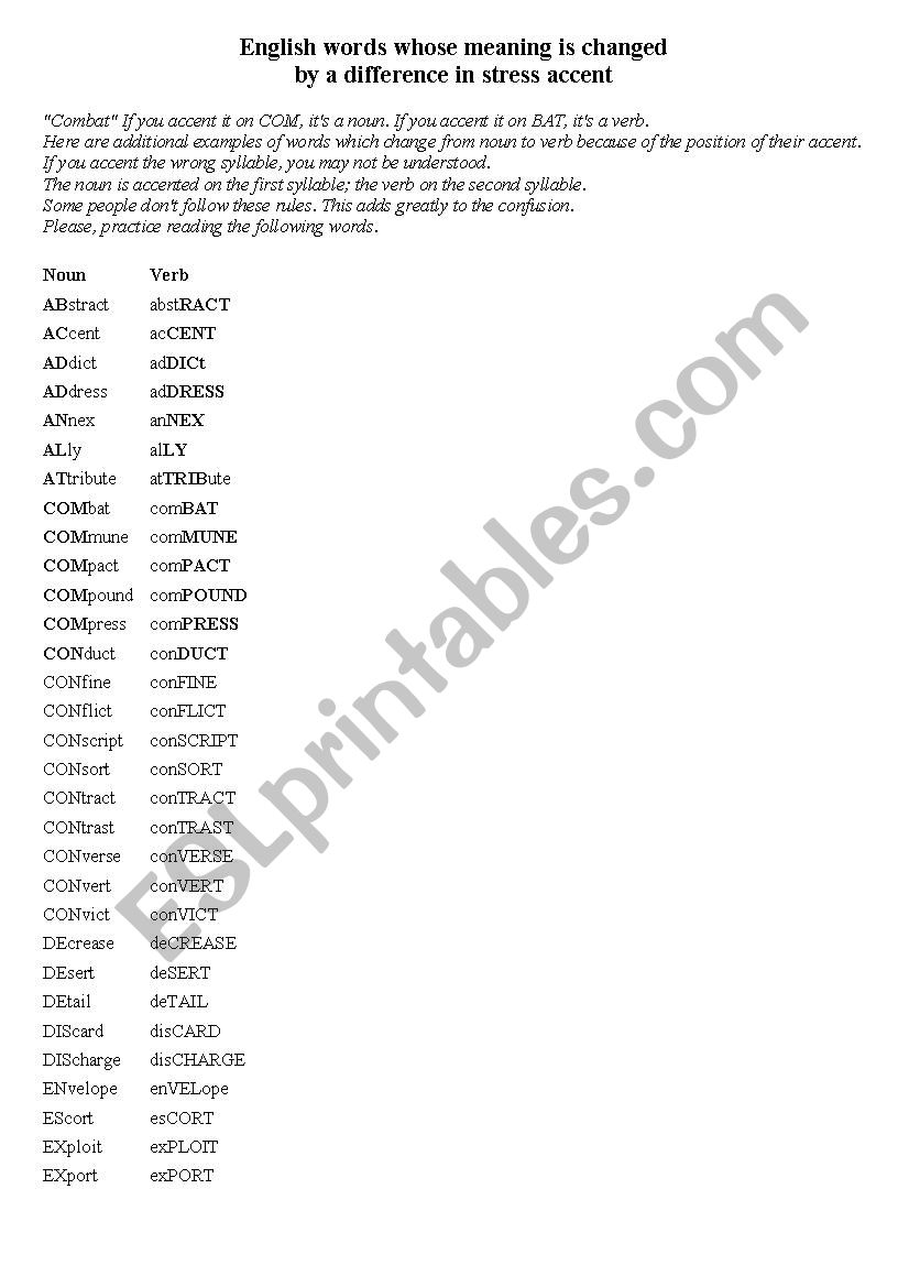 Noun Verb different stress - ESL worksheet by feofaniya
