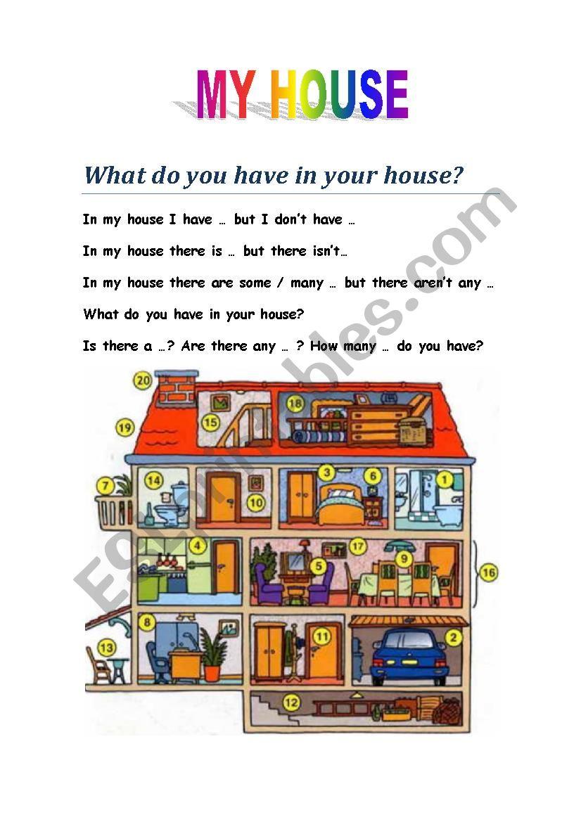 DESCRIBING YOUR HOUSE worksheet