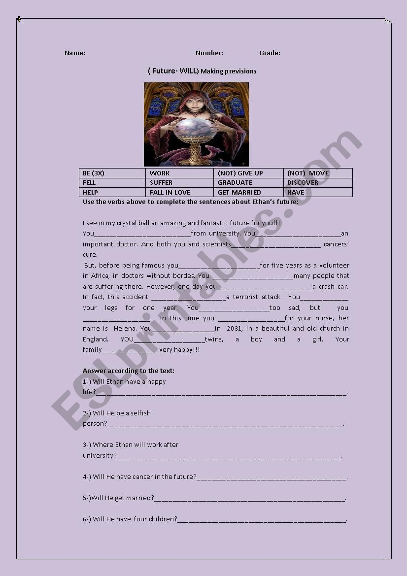 A fortune teller ( Future Simple- WILL) - ESL worksheet by