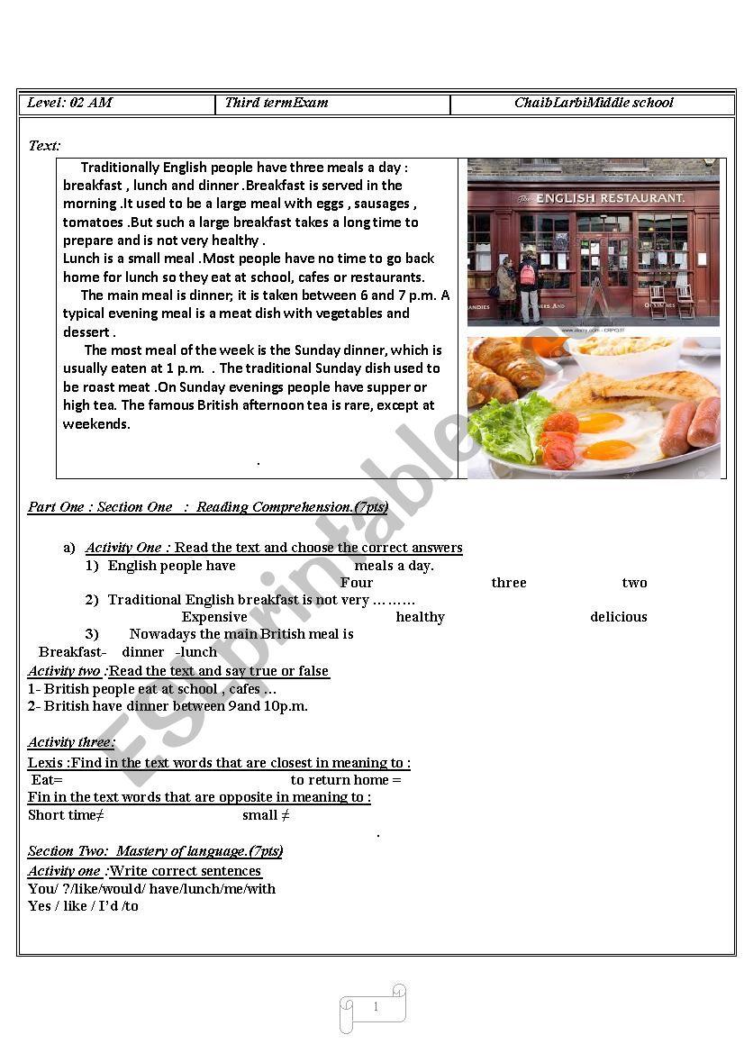meals  worksheet