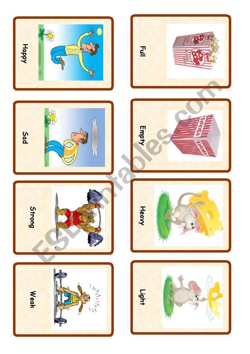 Opposites ( set of cards 3) worksheet