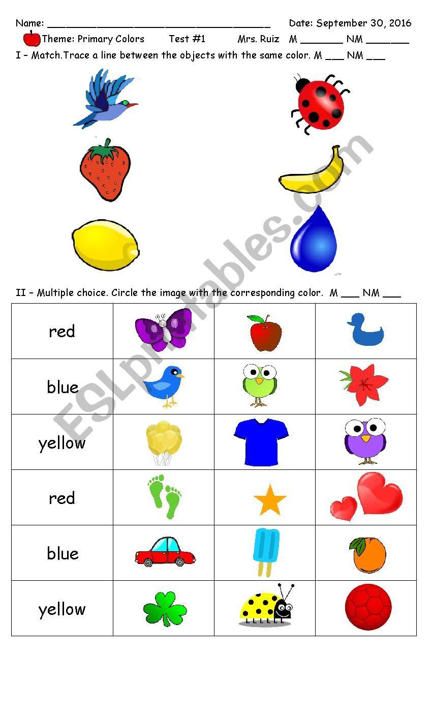 Primary Colors PreSchool - Kinder - ESL worksheet by ruthma08