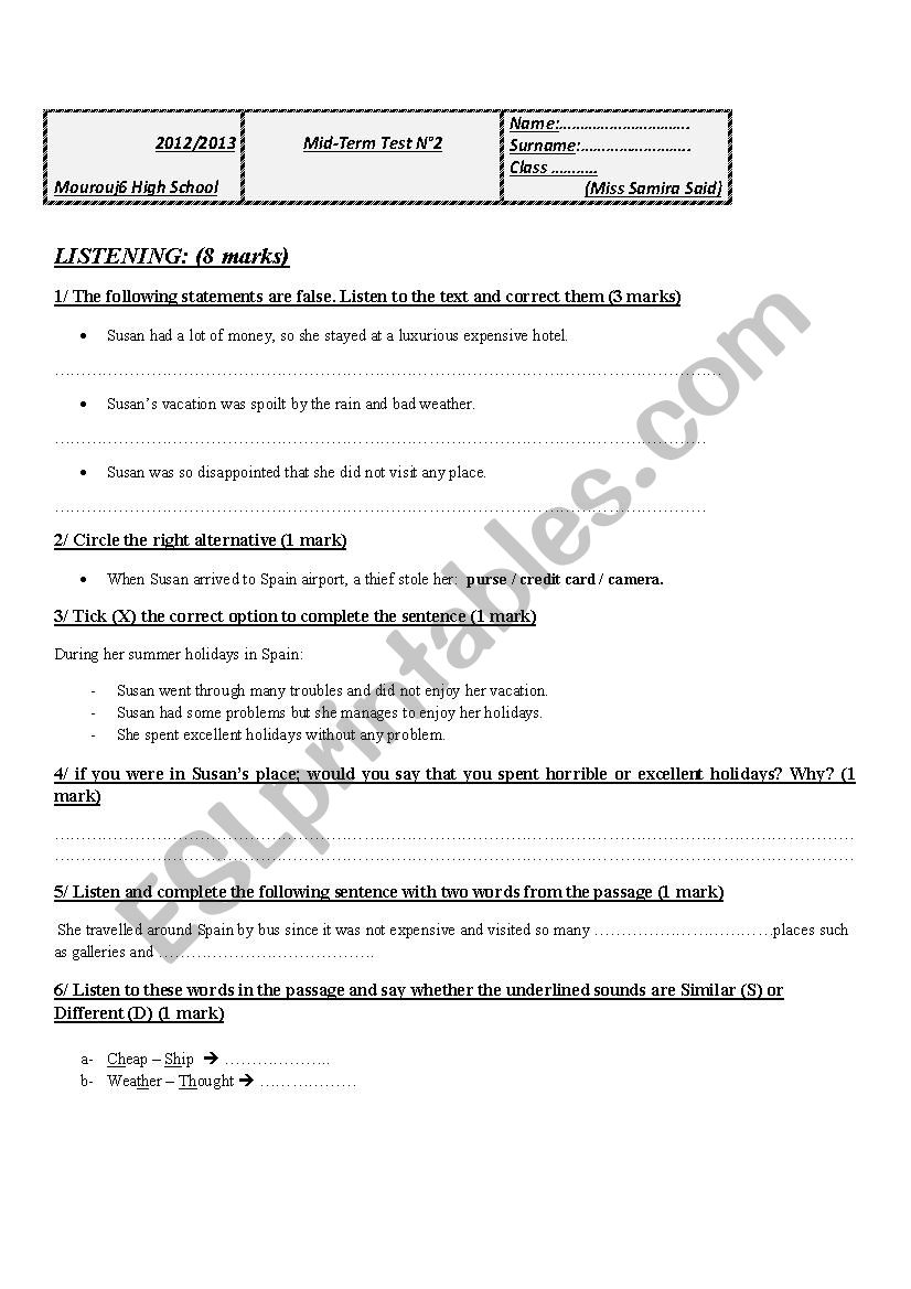 9th test worksheet