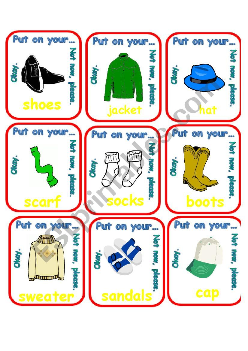 Put on your shoes / Go Fish worksheet