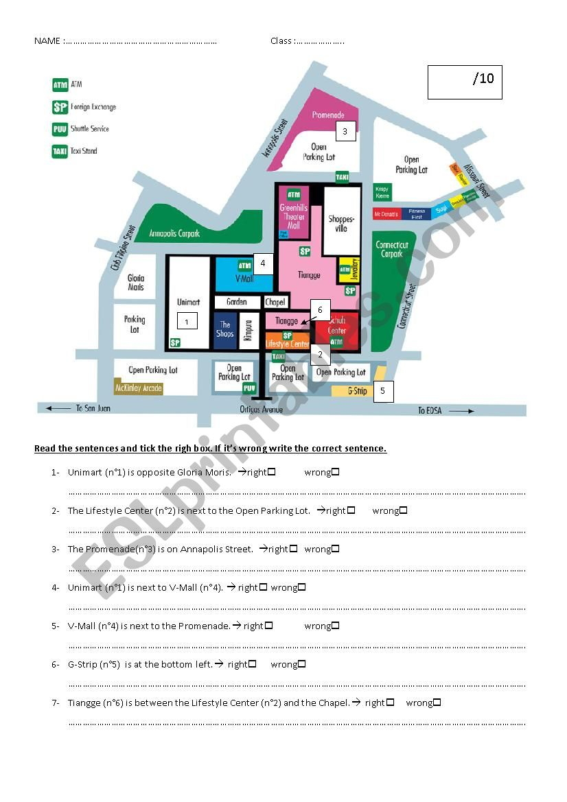 TEST prepositions of place worksheet