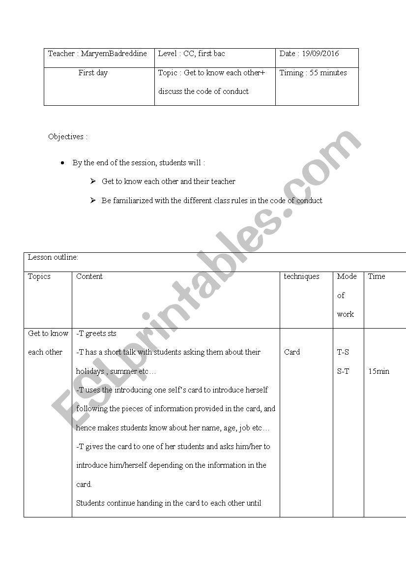 Code of conduct  worksheet