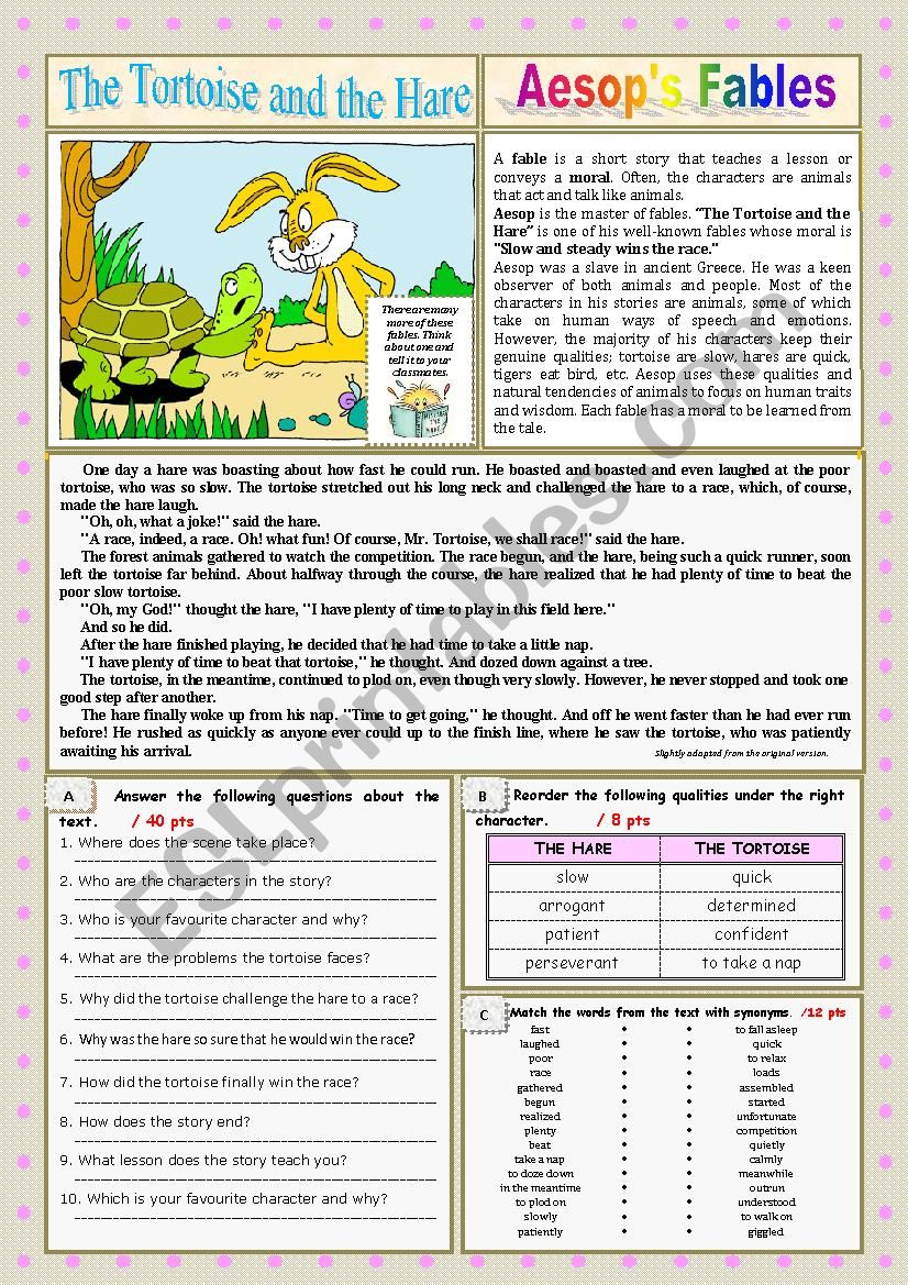 - The Tortoise And The Hare. Reading + Questions + KEY - ESL