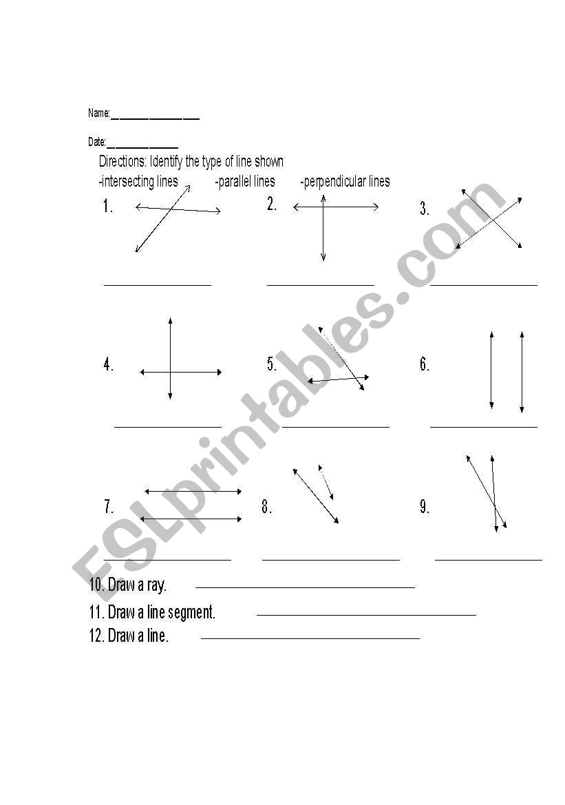 Identify Types Of Lines on reading worksheets