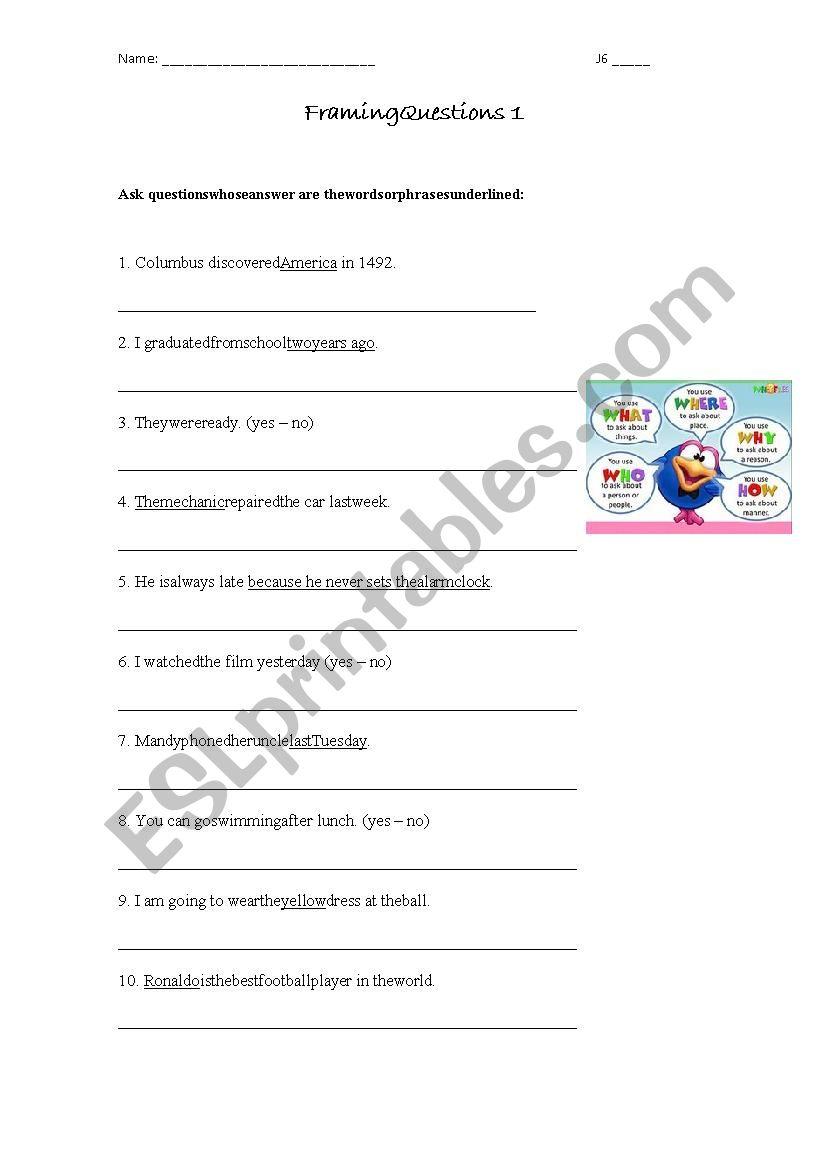 Framing questions - ESL worksheet by flo_rov