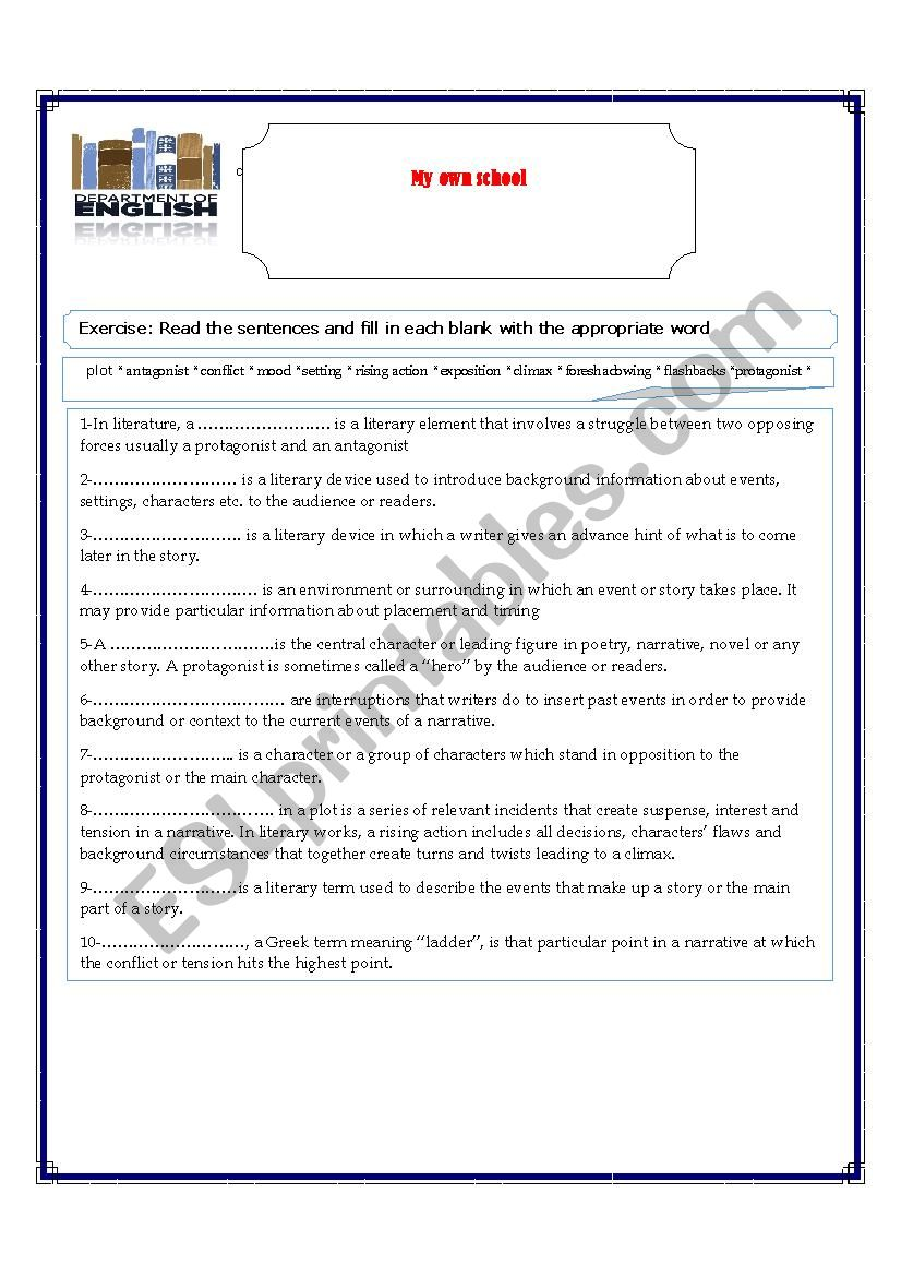 Narrative worksheet