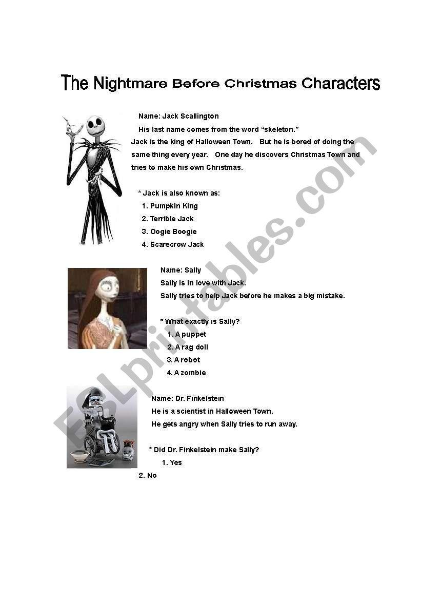 Nightmare Before Christmas Movie Characters - ESL worksheet by gargan2a