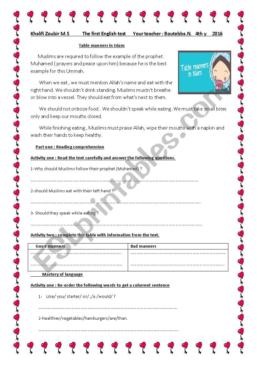 Table manners in Islam worksheet