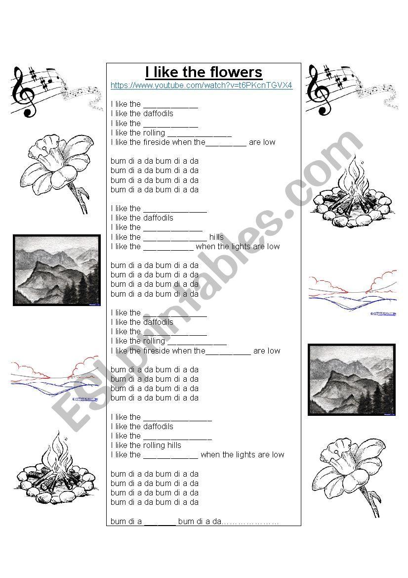 i like the flowers esl worksheet by bazza. Black Bedroom Furniture Sets. Home Design Ideas
