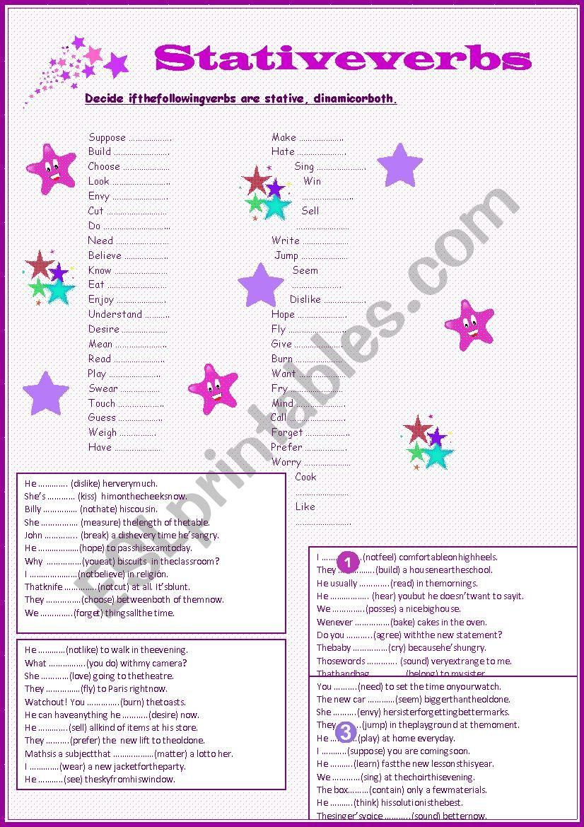 Stative verbs exercises worksheet