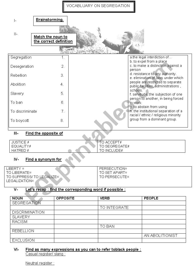VOCABULARY ON SEGREGATION worksheet
