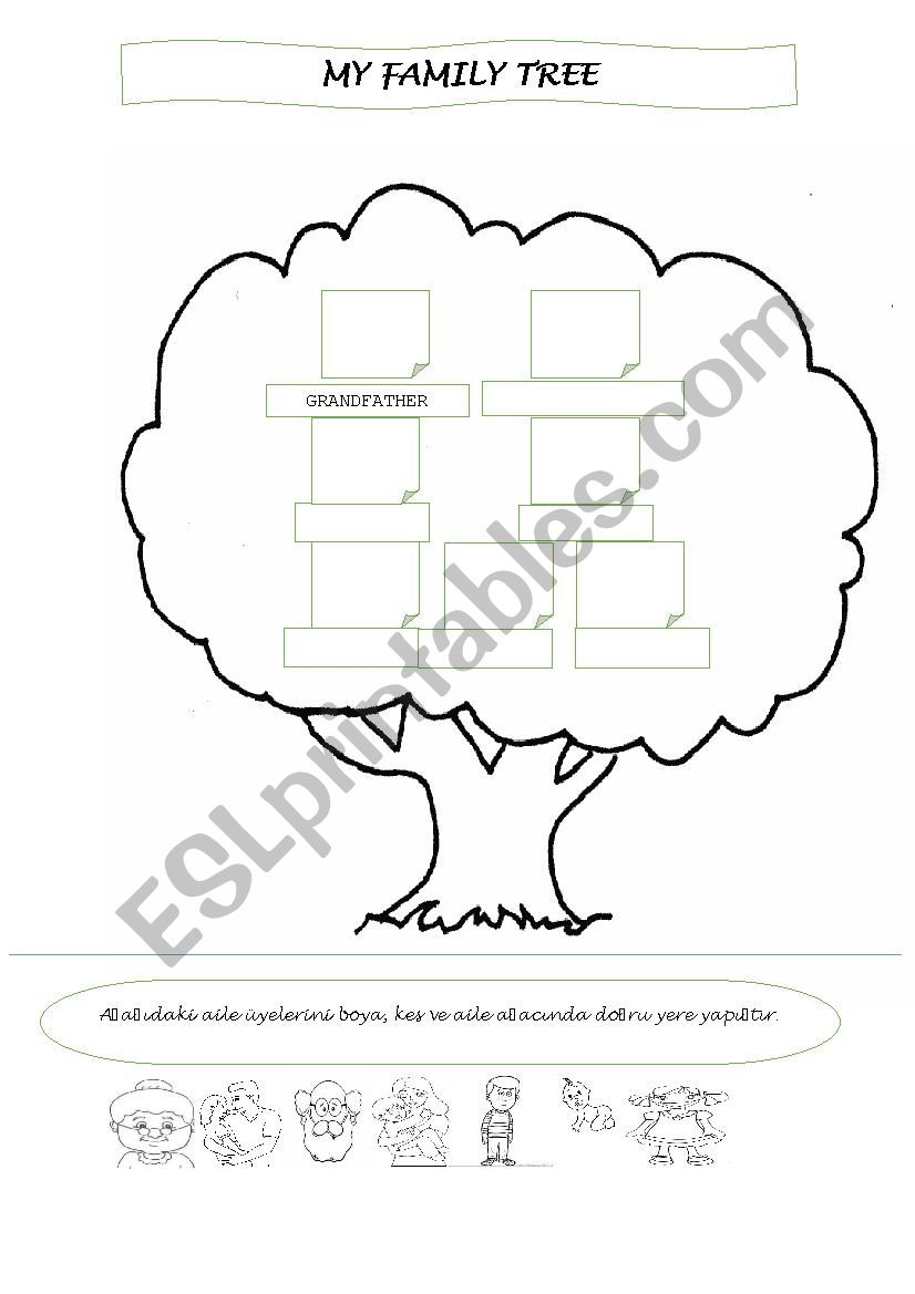 Family Tree Cut Color Paste Esl Worksheet By Butimar