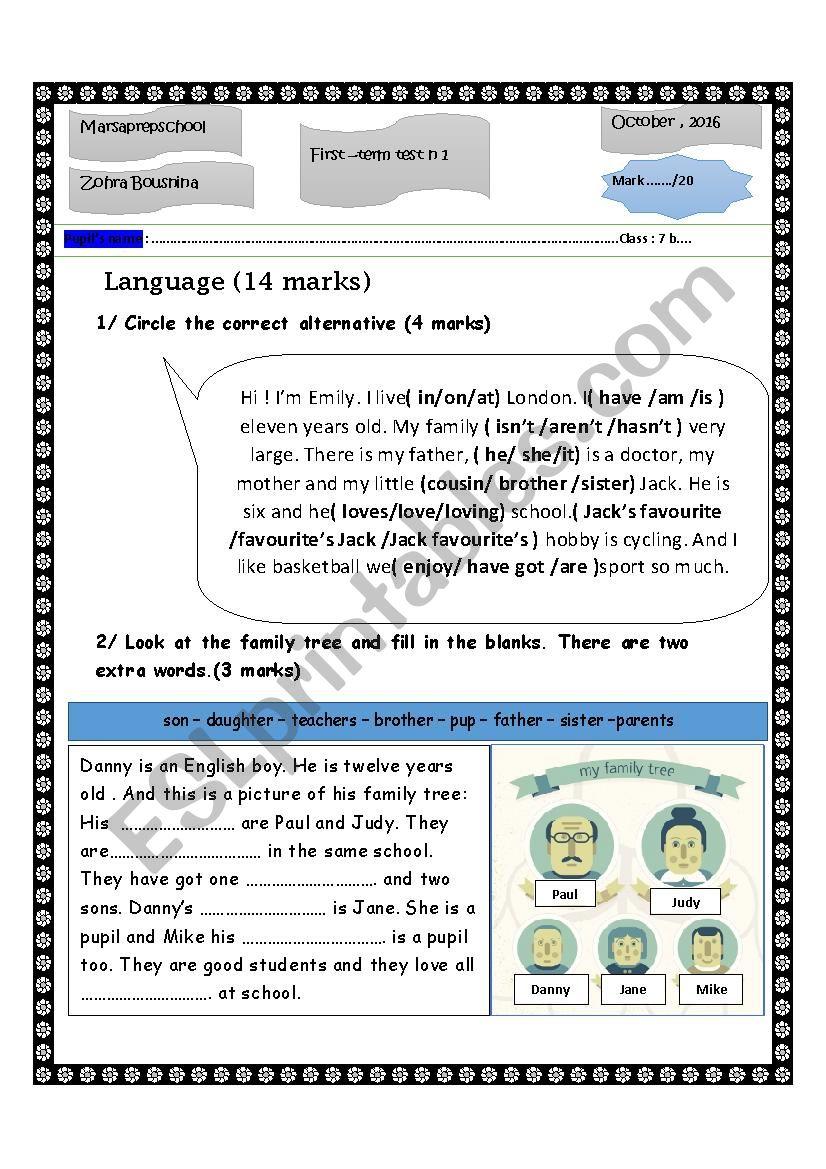 Mid-term test n 1 worksheet