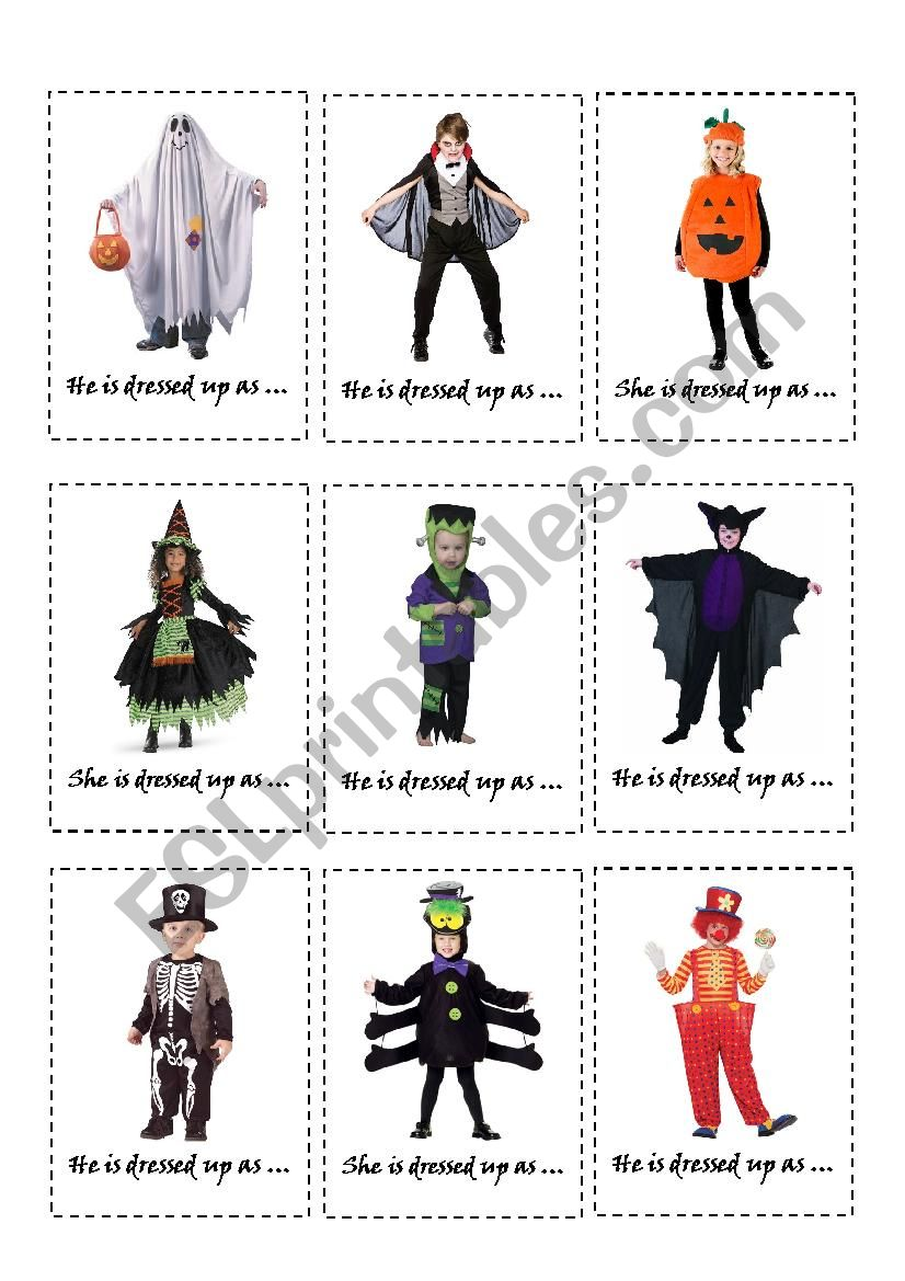 HALLOWEEN BOARDGAME: COSTUME CARDS + RHYMING RIDDLE CARDS