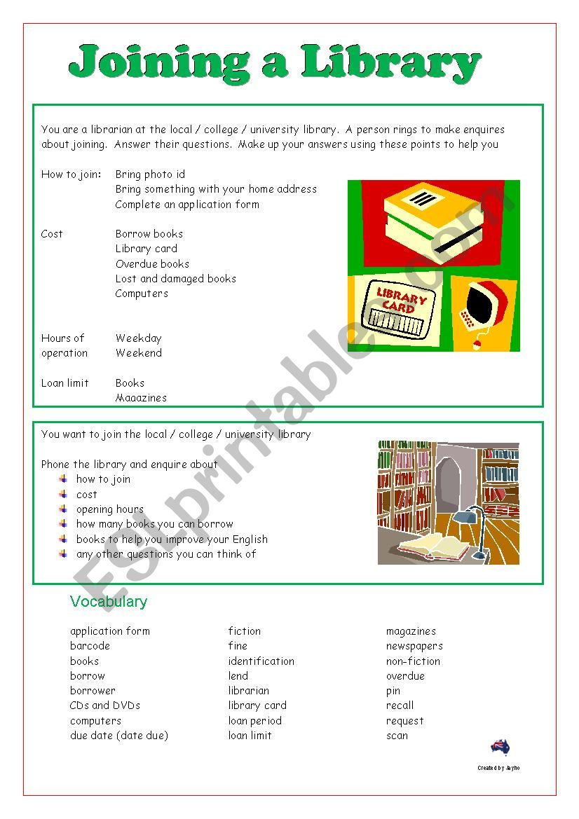 Joining a library - Role Play worksheet