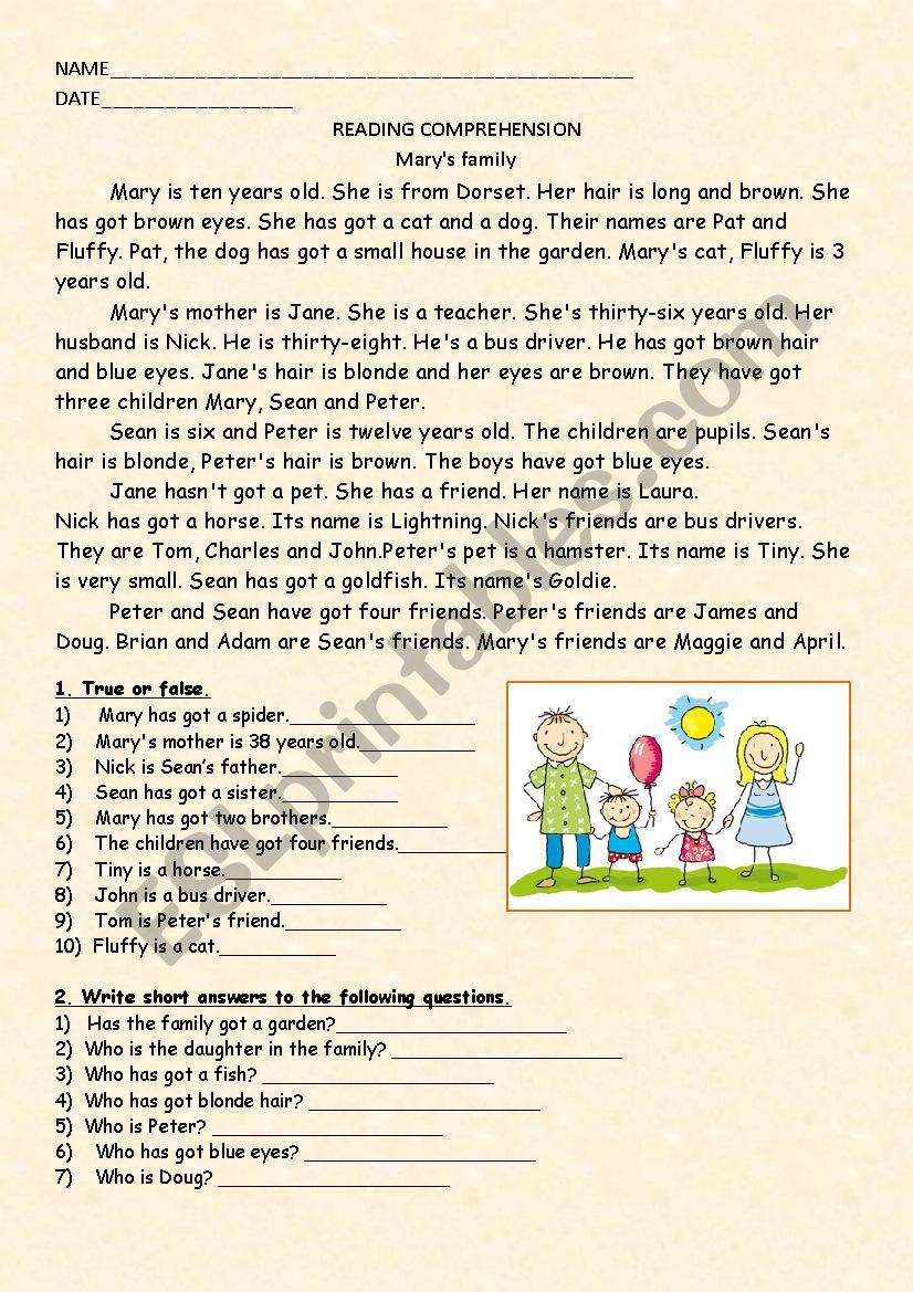 - Reading Comprehension - ESL Worksheet By Anna Saibedinova