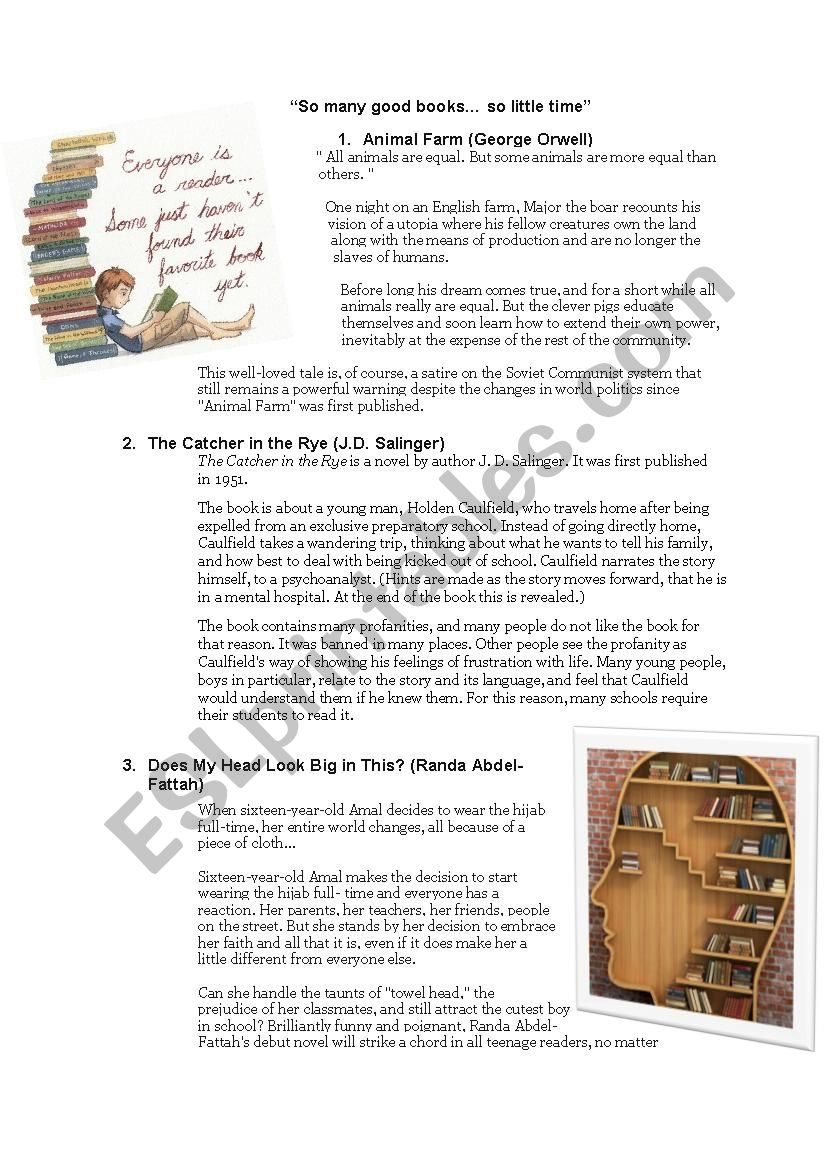 List of great literature for teenagers. Includes blurbs (mix of 24 classics and contemporary novels).