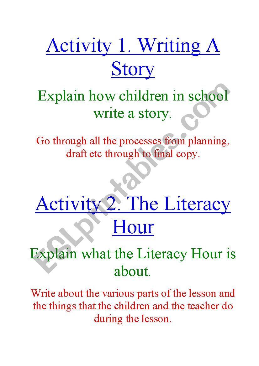 Literacy Activity Task Cards worksheet