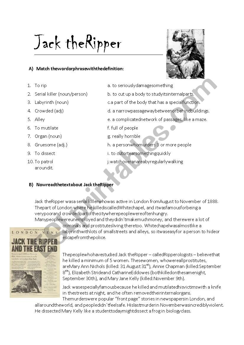 Jack The Ripper worksheet