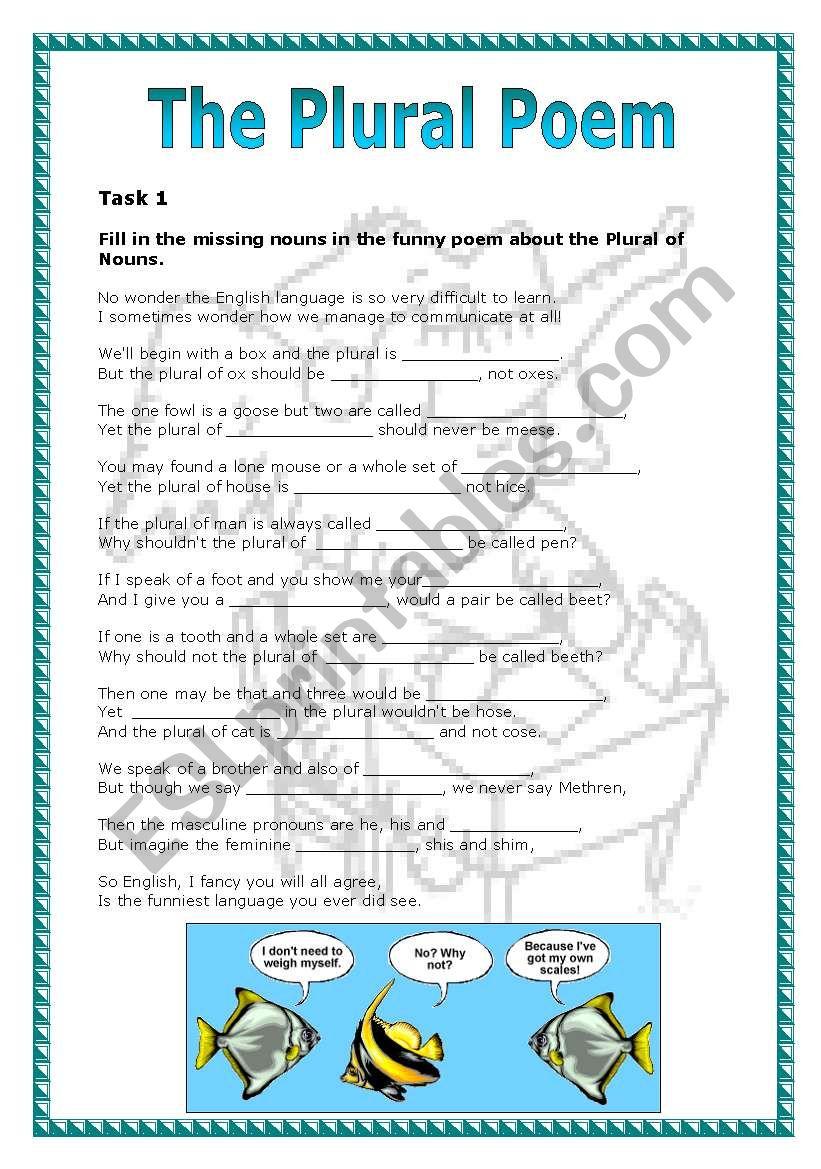The Plural Poem worksheet
