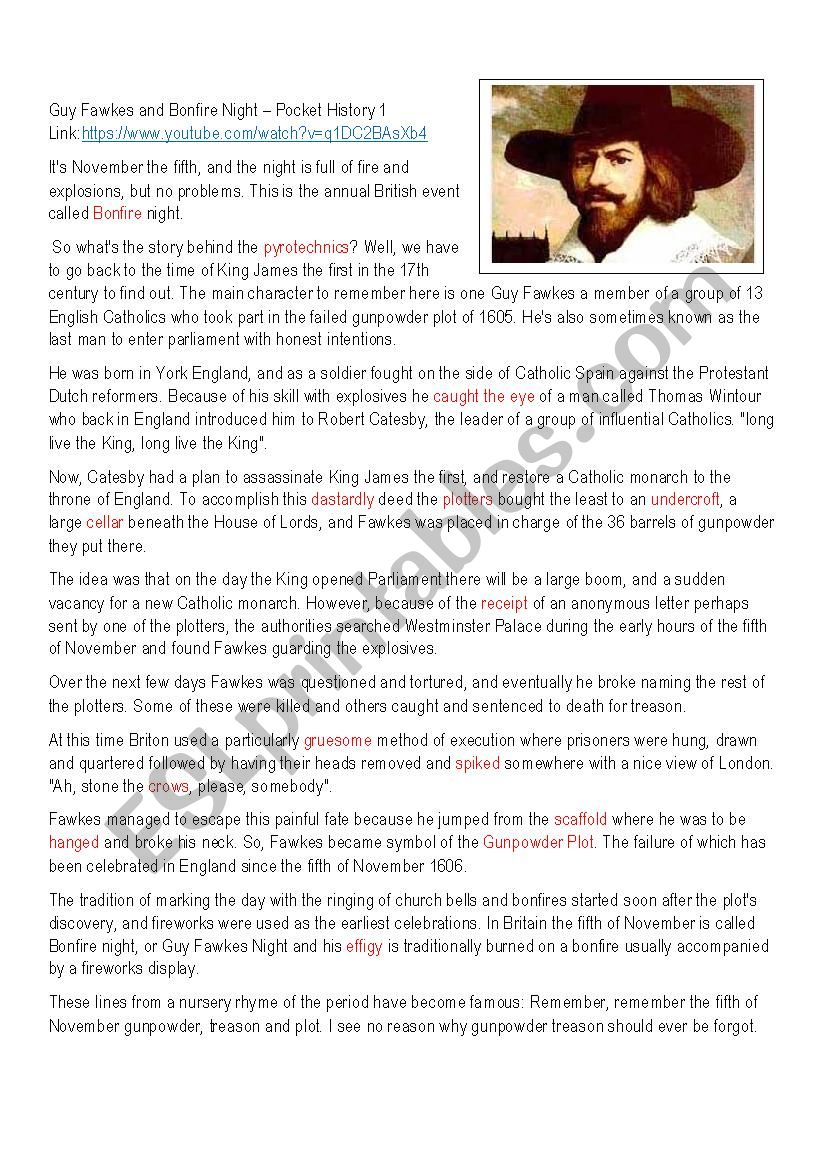 Guy Fawkes and Bonfire Night worksheet