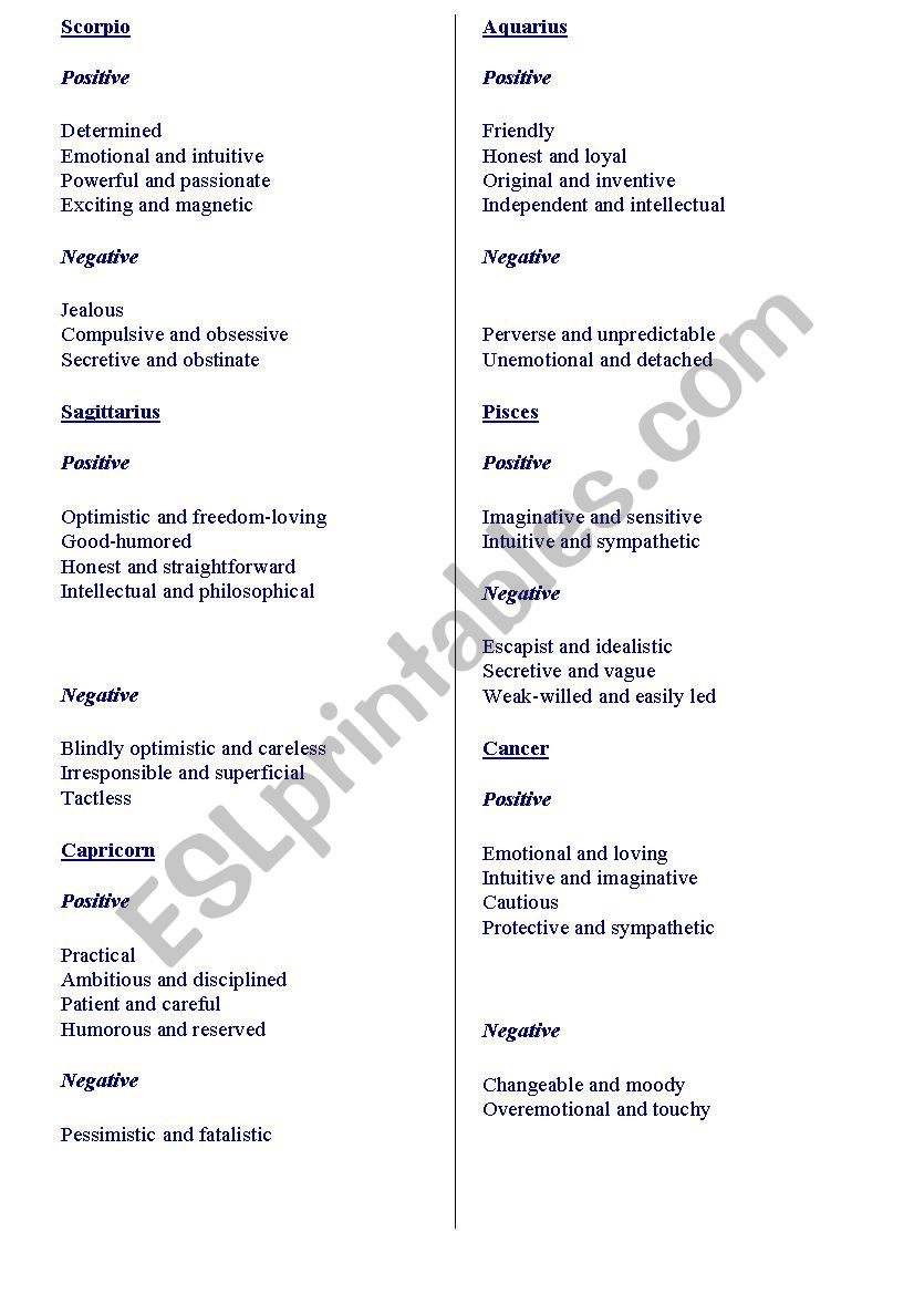 Zodiac Signs - Description of personality - ESL worksheet by