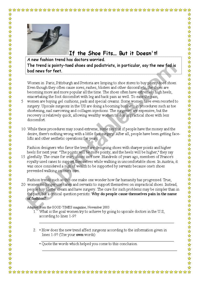 If the shoe fits... worksheet