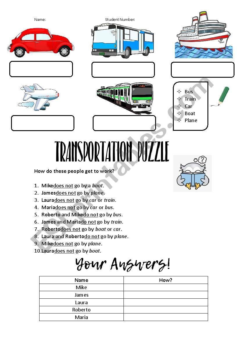 Transportation Puzzle worksheet