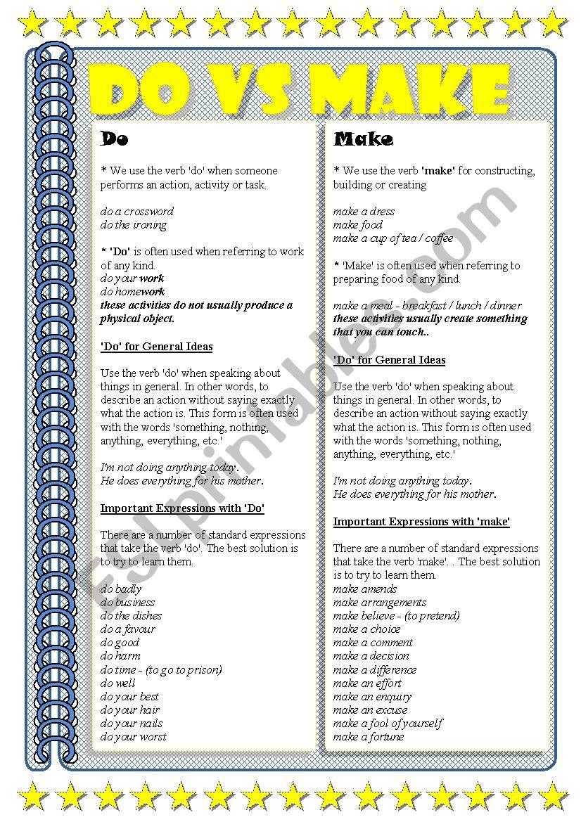 Make vs Do - ESL worksheet by misstylady