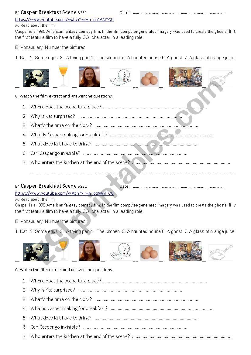 Casper: Breakfast Scene - ESL worksheet by evinches