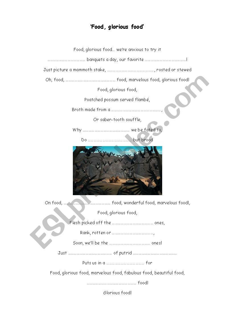 Food, glorious food - song  worksheet