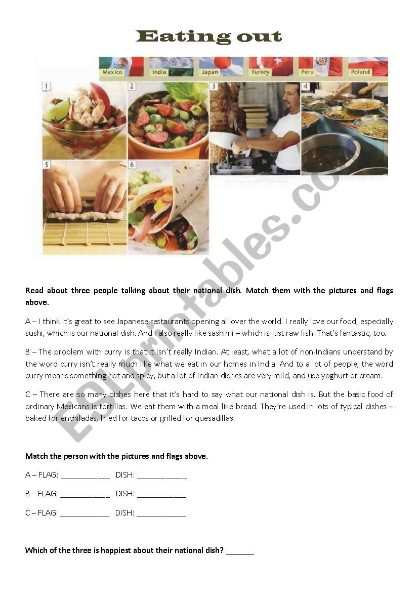 tourism - Eating out worksheet