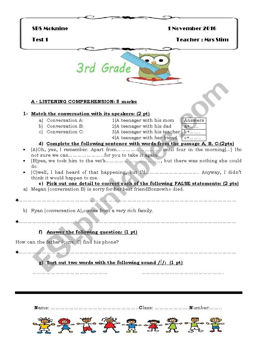 3rd Year MID TERM TEST 1 ( tunisian students)