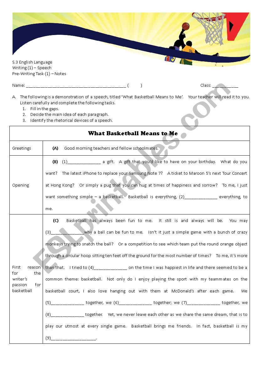 Speech Writing - Demo and Notes (student´s copy)