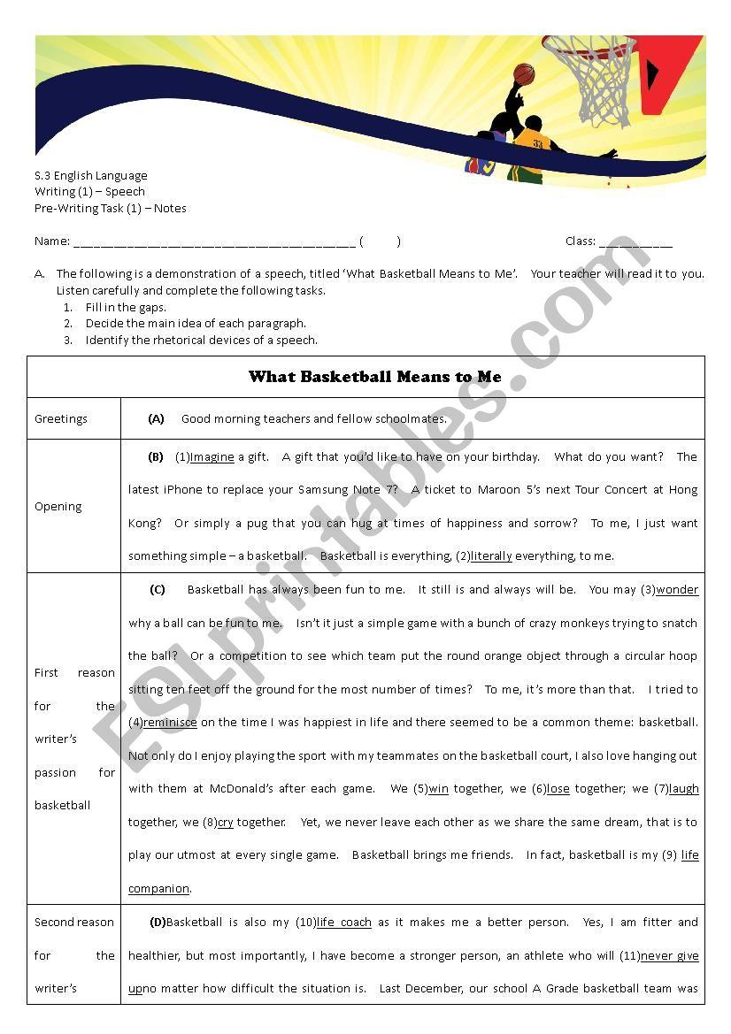Speech Writing - Demo and Notes (Teacher´s copy)