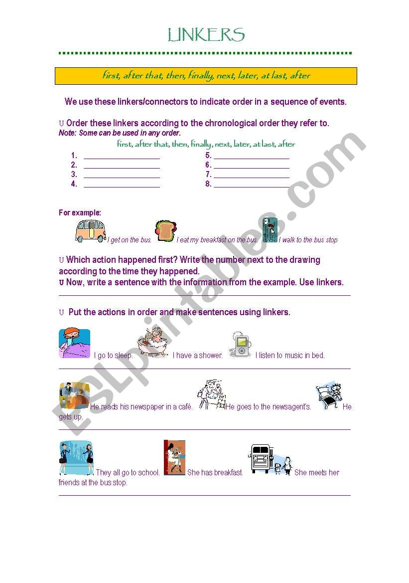 Linkers (sequence of events) worksheet
