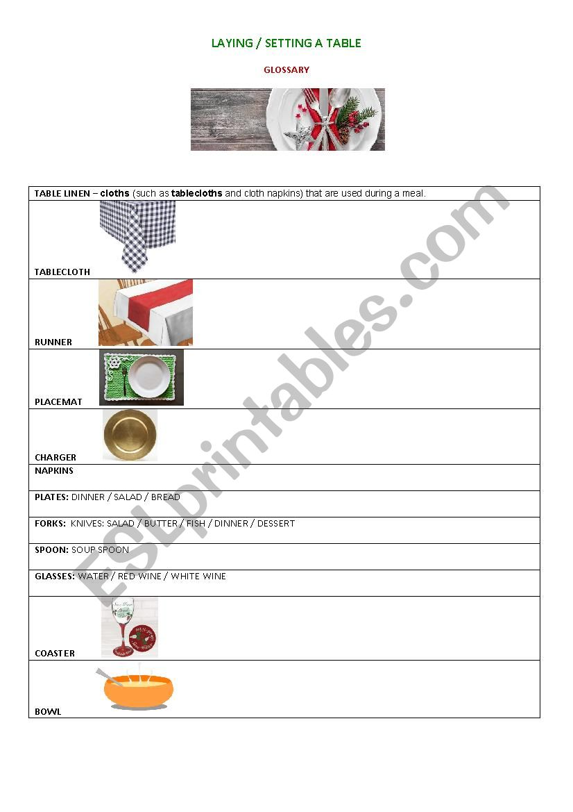 Tourism - Laying/setting a table