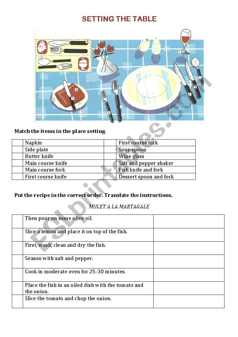 Tourism - setting the table worksheet