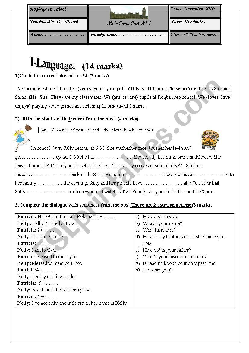 mid semester test n1 worksheet