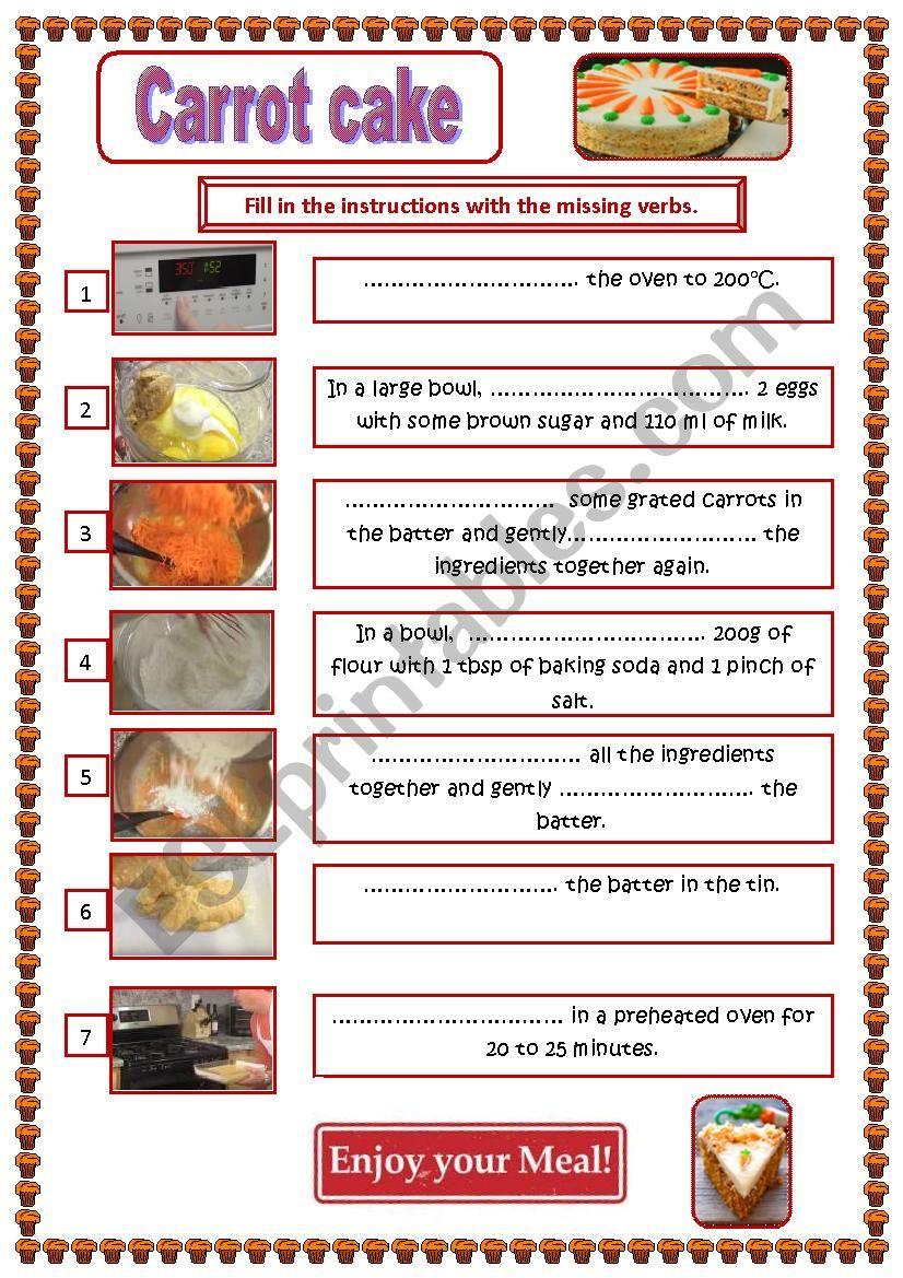 Carrot Cake Recipe worksheet
