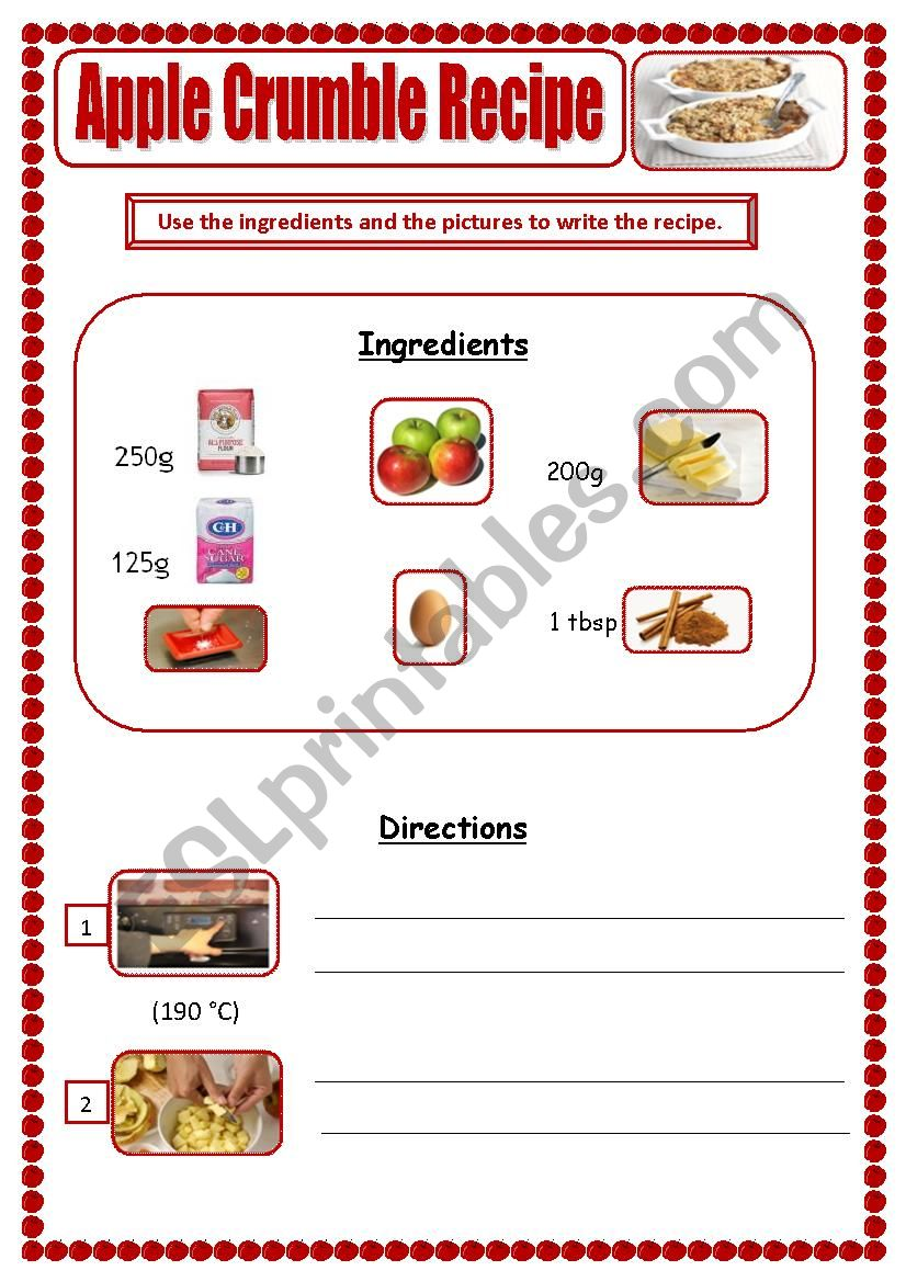 Apple Crumble Recipe worksheet
