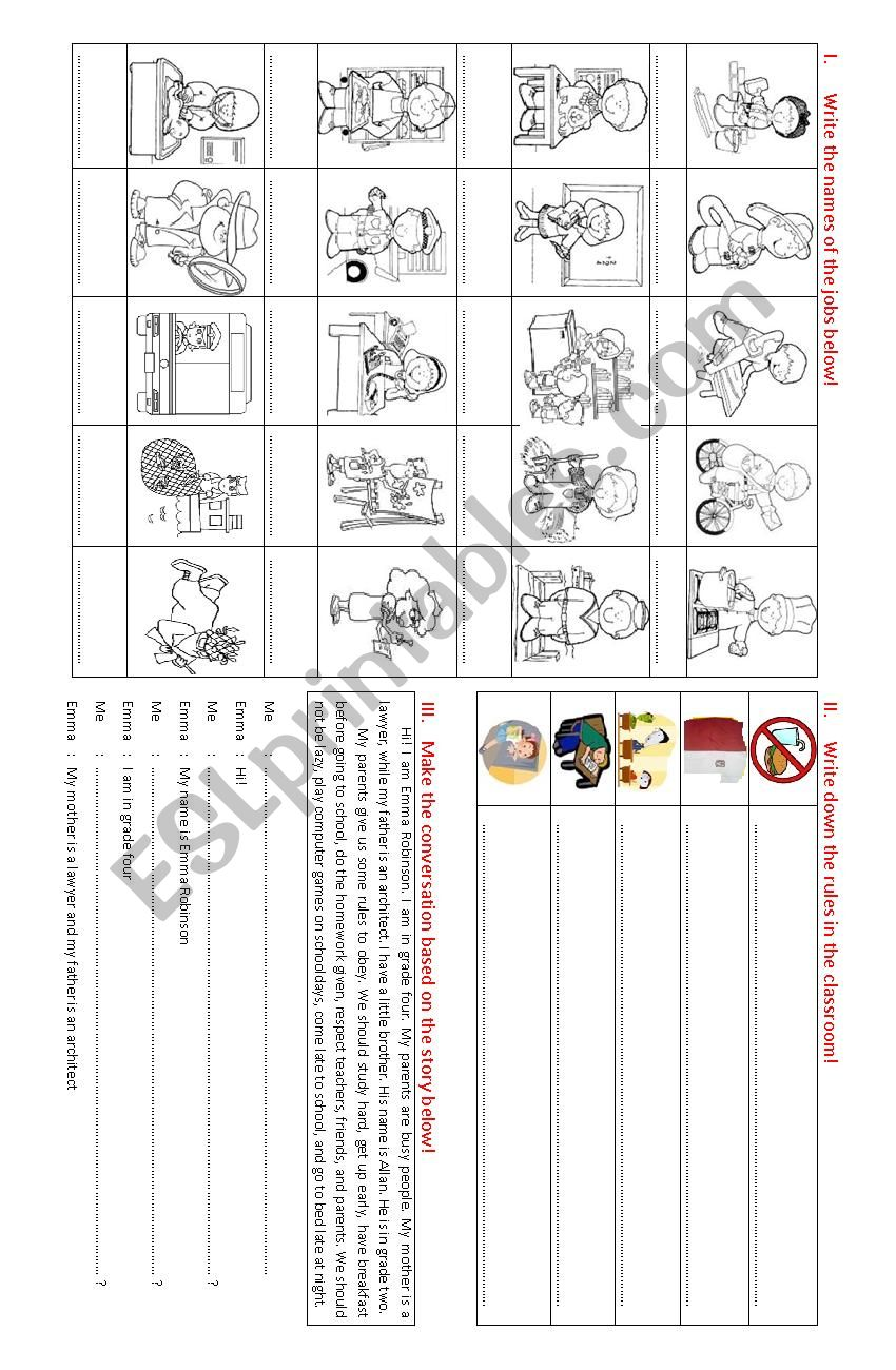 jobs and classroom rules worksheet