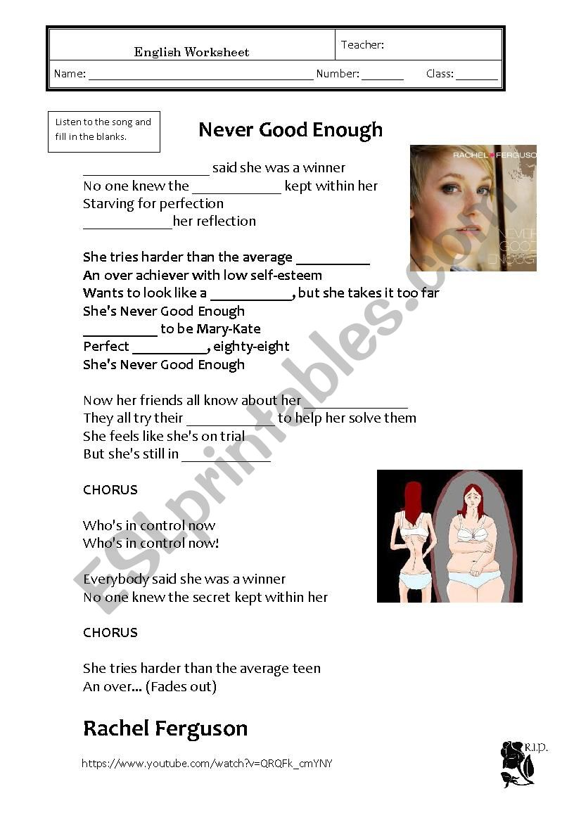 Anorexia - song worksheet
