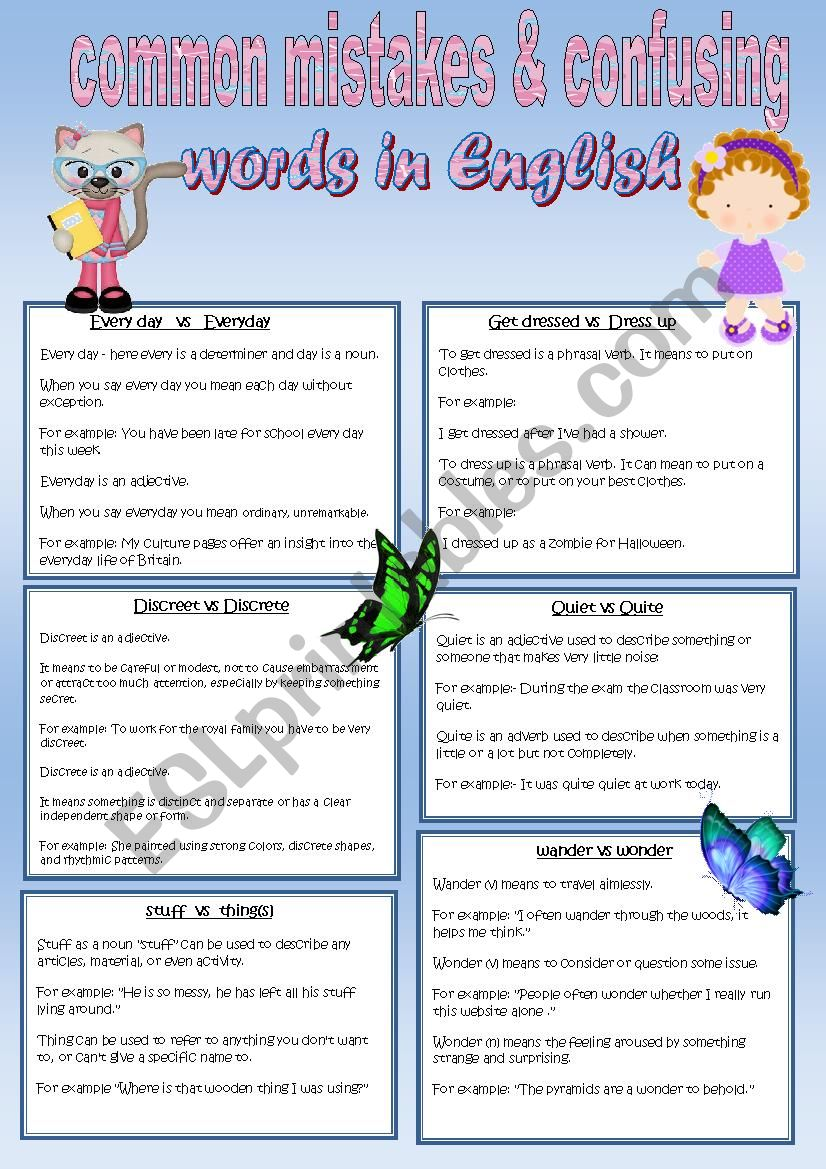 Common Mistakes and Confusing Words in English